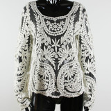 Korean Elegant Cotton Laces Embroidered Blouse