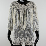 Cotton Women Sexy Elegant Blouses In Lace