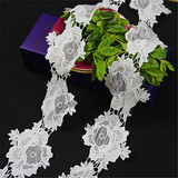 water soluble white flower polyester embroidery lace trim