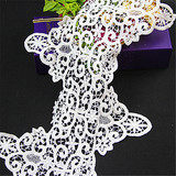 White newest embroidered lace trim for bridal wedding dress