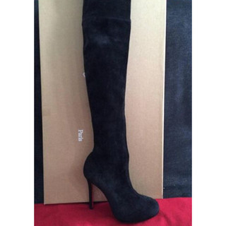 new product 9fd24 5119b Christian Louboutin Louise Xi Black Suede Thigh High Over ...