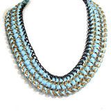 Fashion Jewelry Fabric Winding Short Necklace, Made of Zinc-Alloy, Strass and Fabric Strings, Nickel-Free and Lead-Free Hnk-11880 - See more at: http://user.tradesparq.com/user2#search/productdetail/id=1442776