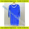 Ladies fashion blue striped long pullover knitwear dress long sleeve round neck