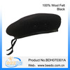 Black military wool beret caps