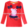 front lovely peppa pig and bowknot design baby girls long sleeve shirt