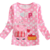two red color for baby girls choose white dot print cheap girls long sleeve shirt
