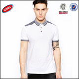 2014 fanshion style custom whte polo shirt with shoulder patch for men