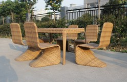 6 seater square water resistant wicker dining set with glass top