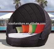 Hot sale cheap comfortable rattan round outdoor swimming pool lounge bed with canopy