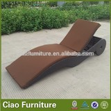 modern design outdoor furniture synthetic rattan chaise lounge with wheel