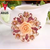 2015 New Hot Alloy Flower yelow Crystal Brooch