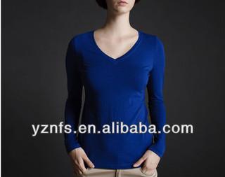 v-neck tshirt wholesale pure color women clothes high fashion wear