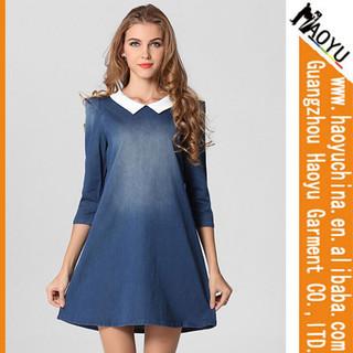 Haoyu ladies jeans dress indigo knit denim fabric denim jeans dress designer denim womens denim dress (HYS2003)