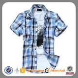 Brand fashion cotton short sleeve plaid casual dress shirt for men