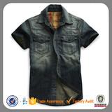 wholesale denim branded slim fit new model jean men shirt