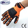 NMSAFETY 13 gauge orange nylon liner sandy nitrile glove with TPR on back mechanic gloves