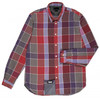 Men's tailored-fit red fine check short sleeve shirt