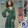 Yihao Trade Assurance Women casual long sleeve maxi dress summer 2015 sexy v-neck party dress plus size women clothes