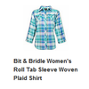 A-9  Women's woven long slv plaid shirt