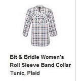 A-13 Women's Roll slv Band collar Tunic Plaid