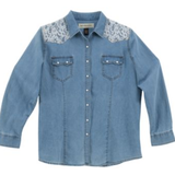 A-14 Ladies' long slv western denim,light wash shirt