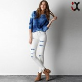 2015 hot style ripped effect white skinny jeans (JXY055)
