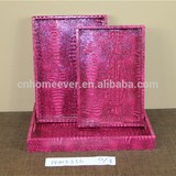 Crocodile leather wooden tray