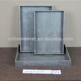 Grey Crocodile leather wooden tray
