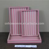 Pink stripe MDF wooden tray
