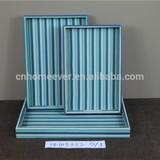 Blue stripe MDF wooden storage tray