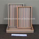 Orange color stripe MDF wooden storage tray