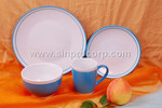 wholesale 2-tone color glaze dinner set with ceramic dinner plate, side plate, ceramic cup and bowl;wholesale dinnerware