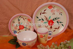 pink 16pcs Stoneware Handpainted Dinnerware for four person
