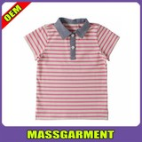 new 100% cotton kid's polo t shirt with striped ,custom polo t shirt for boy