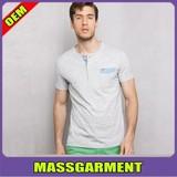 2015 fashion men t-shirt plain 100 cotton t-shirt polo neck with pocket