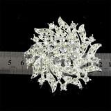 Silver tone flower brooch pin,crystal jewel pins