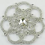 Vintage jewel rhinestone brooches, crystal jewels decoration silver toned
