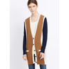 pur cashmere cardigan ladies Colorblock cardigan women fashion knitwear
