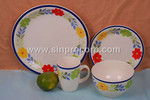 16pcs Stoneware Handpainted Flower Dinnerware for four person