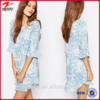 Blue All over printed frill sleeves ladies tunic fancy dress