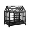 Heavy duty dog cage strong folding metal dog crate kennel with tray and wheels