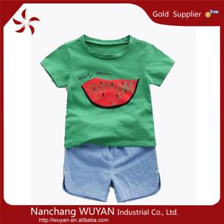 Boy t shirts printed designs/pant+shirt kid clothes/children suits wholesale