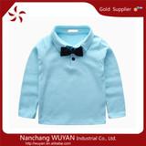 fashion cheap boy shirts/fashion design child polo t shirts/children printed t-shirt with bowknot