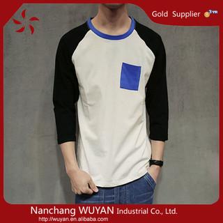 custom logo wholesale men 3/4 Sleeve Raglan T Shirts Men 3/4th sleeve blank cotton raglan baseball t shirt wholesale