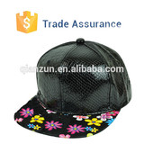 Factory OEM Customize Your Own Snakeskin Leather Snapback Hat Customized Plain Snapback Hat Cap
