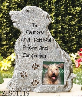 Dog Memorial Markers have space for a photo of a late friend, family member or pet