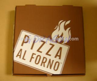 10' B flute brown kraft paper customized logo rectangle shape pizza packaging box