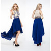 Factory Crystal Beaded Western Birthday Party Wear Dresses Royal Blue Dress