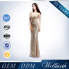 Gold Sequins Illusion Floor Touching Length Formal Evening Dress