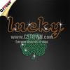 Green Shamrock Lucky Letters Rhinestone Diamante Transfer Iron On Hotfix Gem Crystal Motif